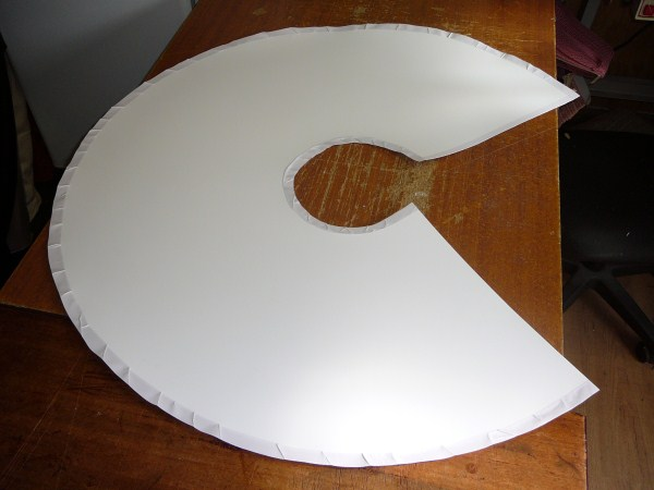 Template With Fabric and Tape Cut Out