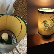 Kingfisher lampshade repair for a lovely lady called Kath from the Midlands