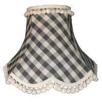 Black Gingham Check Pom Pom Fabric Lampshades