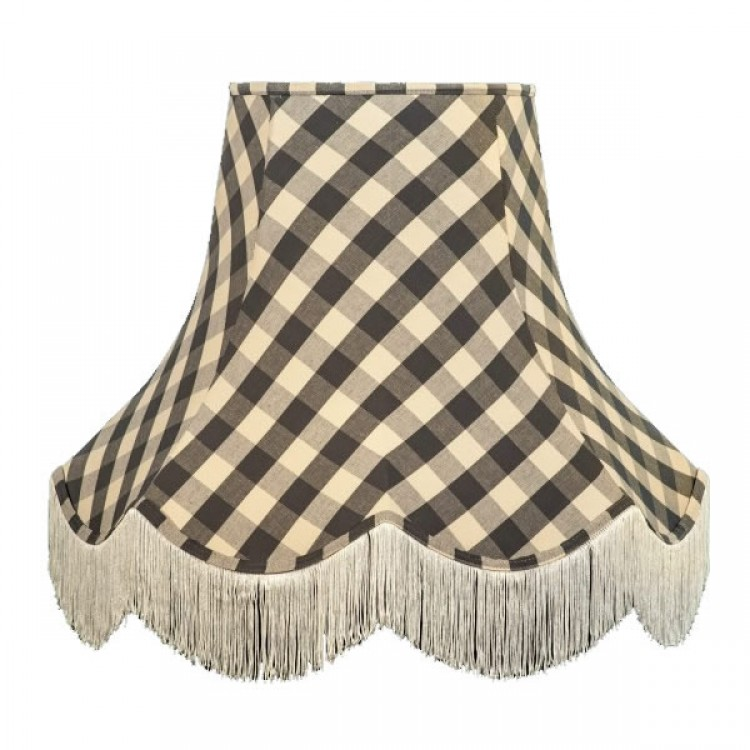 Black Gingham Check Fabric Lampshades
