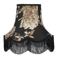 Black Hydrangea Floral Fabric Lampshades