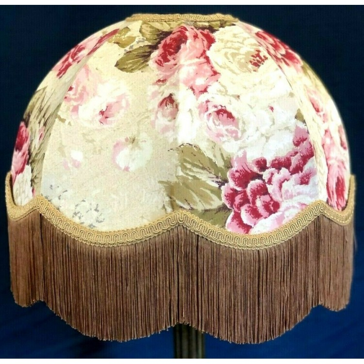 Chintz Floral with Double Gold Dome Fabric Lampshades