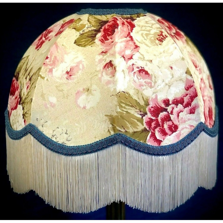 Chintz Floral with Blue Dome Fabric Lampshades