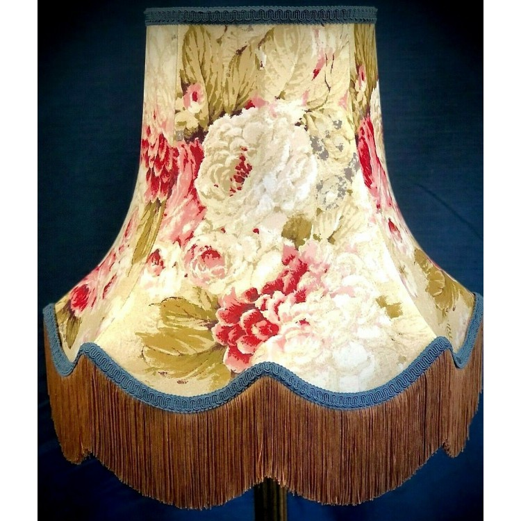 Chintz Floral with Blue and Gold Fabric Lampshades