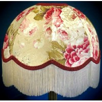 Chintz Floral with Burgundy Red Dome Fabric Lampshades