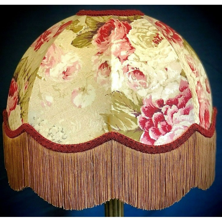 Chintz Floral Burgundy Red and Gold Dome Lampshades
