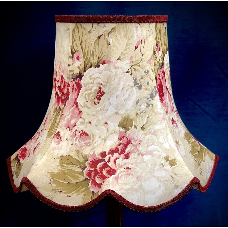 Chintz Floral with Burgundy Red Modern Fabric Lampshades