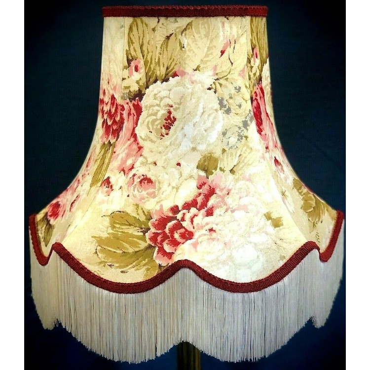 Chintz Floral with Burgundy Red Fabric Lampshades
