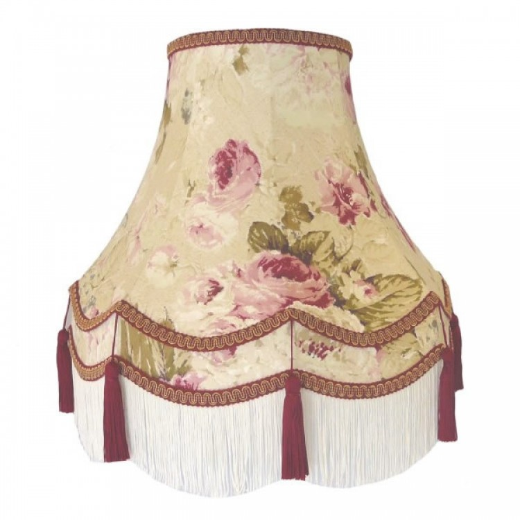 Chintz Floral with Gold Burgundy Red Fabric Lampshades