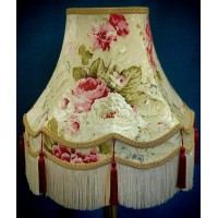 Chintz Floral with Burgundy Red and Gold Fabric Lampshades