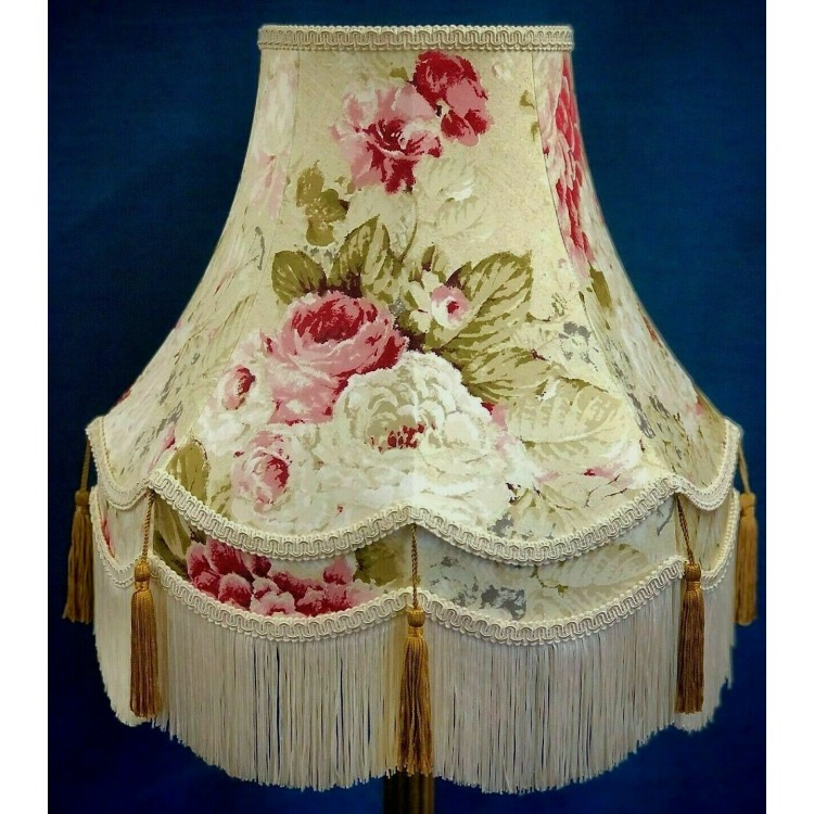 Chintz Floral with Gold and Cream Fabric Lampshades