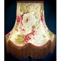 Chintz Floral Burgundy Red and Gold Lampshades