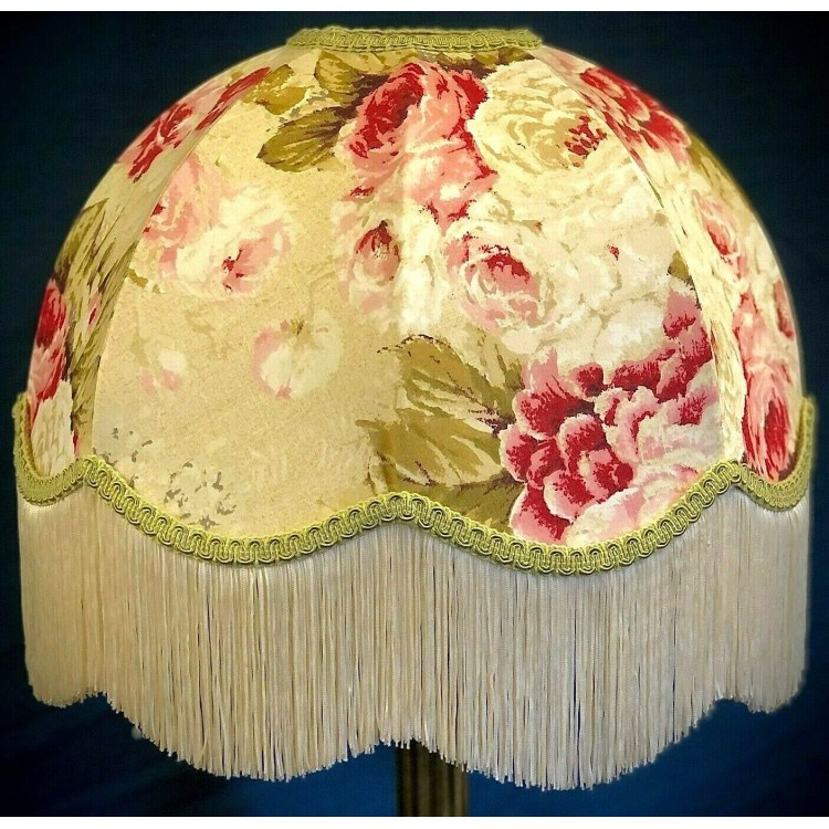 Chintz Floral with Green Dome Fabric Lampshades