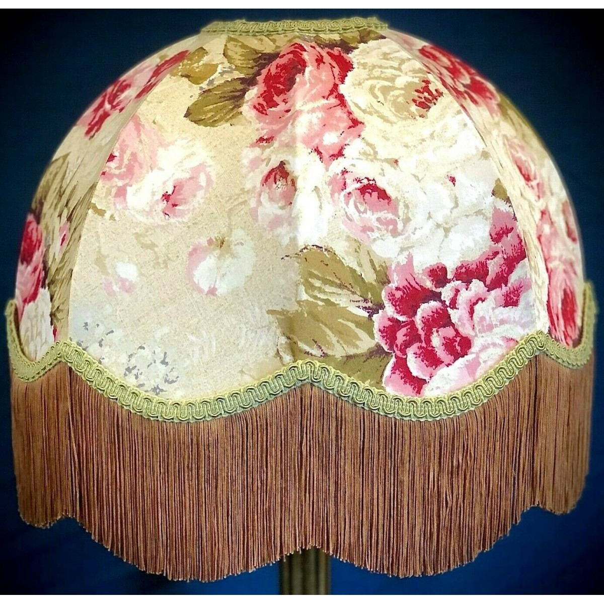 Green Floral Lamp Shade : Green gold chintz floral dome lampshade