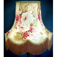 Chintz Floral with Green and Gold Fabric Lampshades