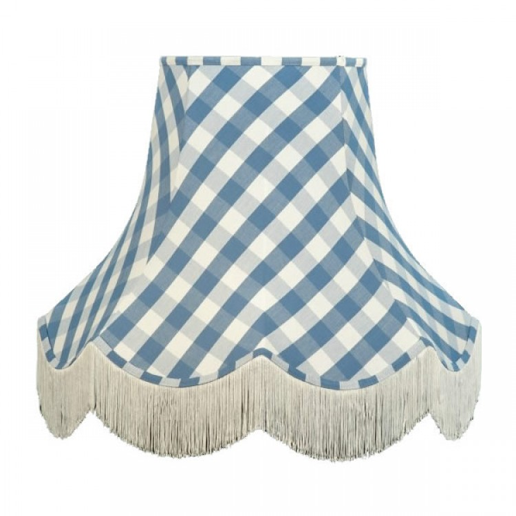 Cornflower Blue Gingham Check Fabric Lampshades