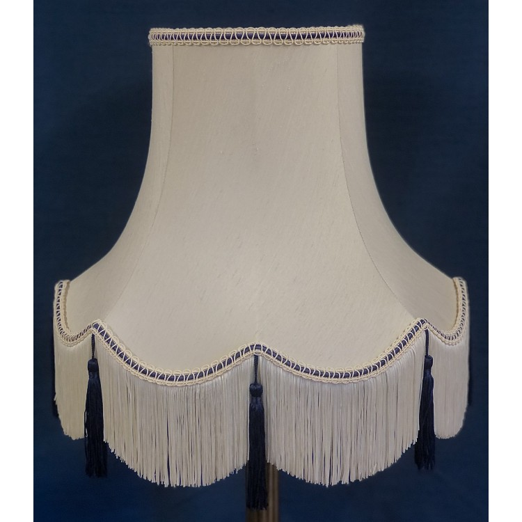 Cream and Blue Fabric Lampshades