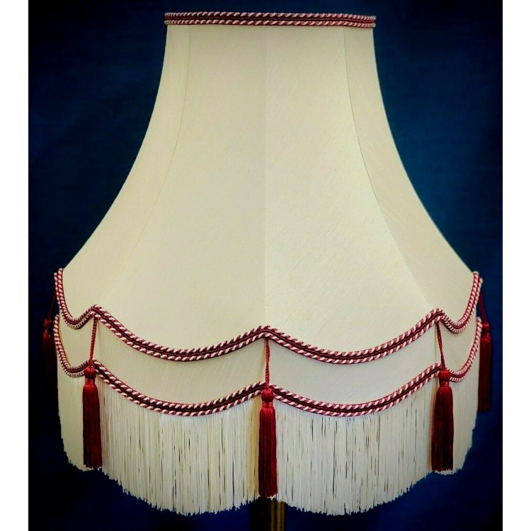 Cream and Burgundy Red Double Fabric Lampshades