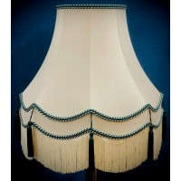 Cream and Holly Green Fabric Lampshades