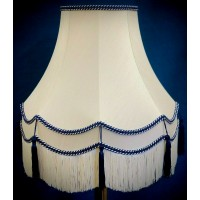 Cream and Blue Double Fabric Lampshades