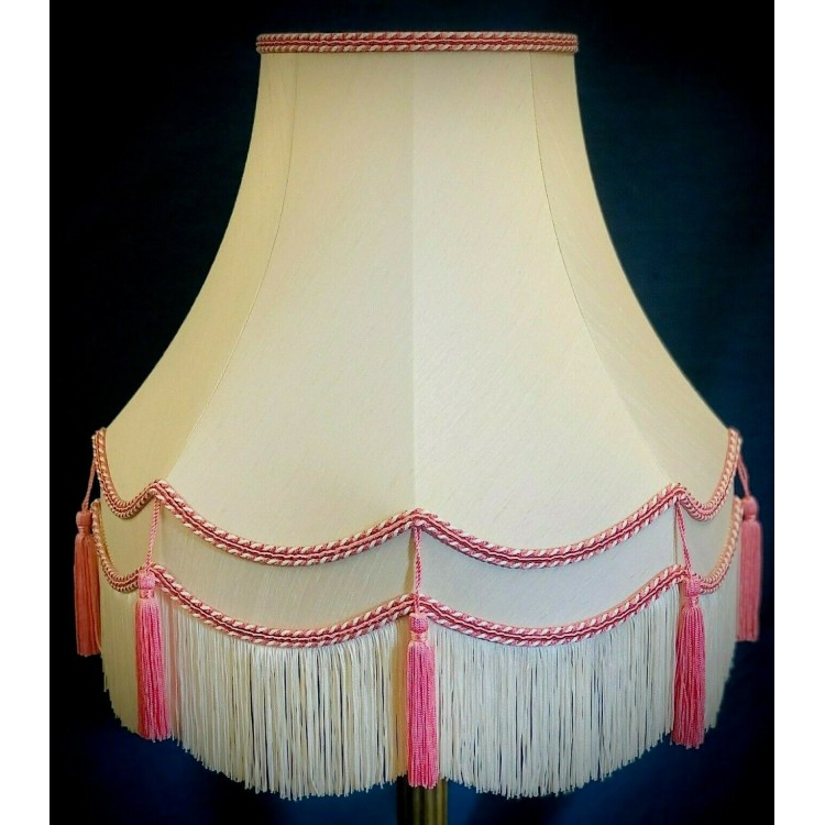 Cream and Pink Double Fabric Lampshades