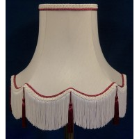 Cream and Burgundy Tassled Rope Fabric Lampshades