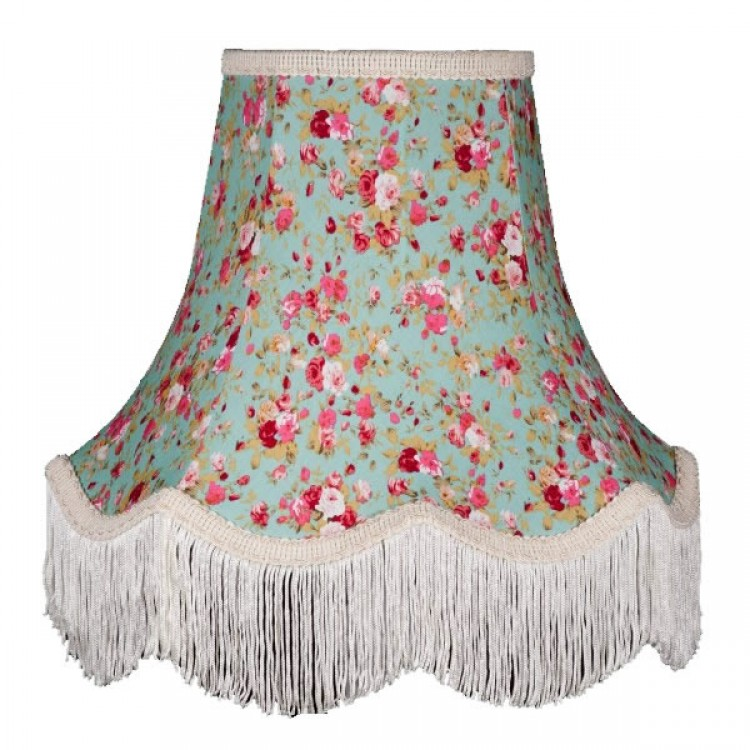 Green Floral Fabric Lampshades