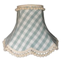 Harbour Blue Gingham Check Pom Pom Fabric Lampshades