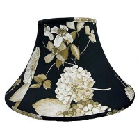 Black Hydrangea Floral Empire Fabric Lampshades