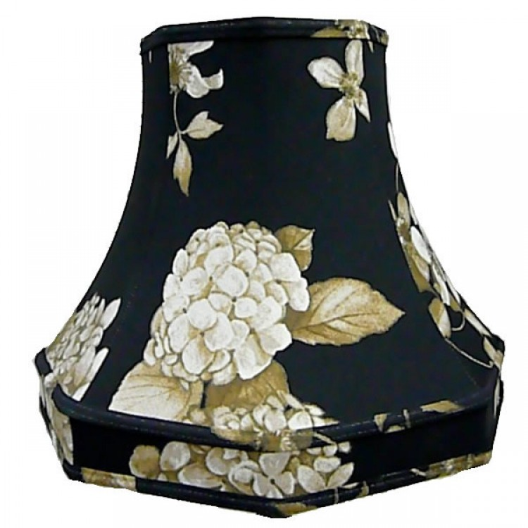 Black Hydrangea Floral Octagonal Fabric Lampshades