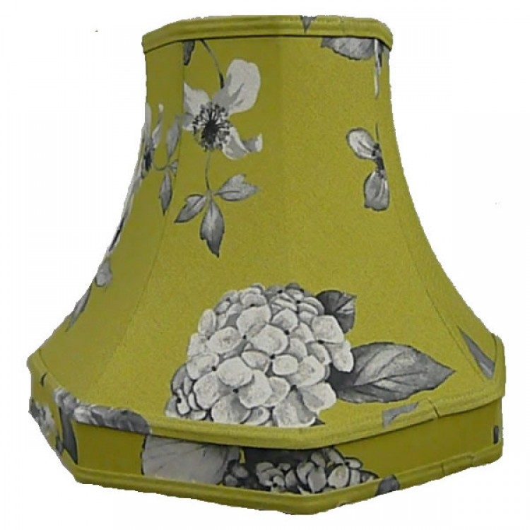 Green Hydrangea Floral Octagonal Fabric Lampshades