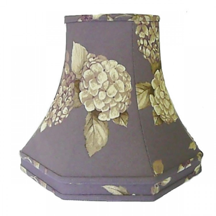 Purple Heather Floral Hydrangea Octagonal Fabric Lampshades