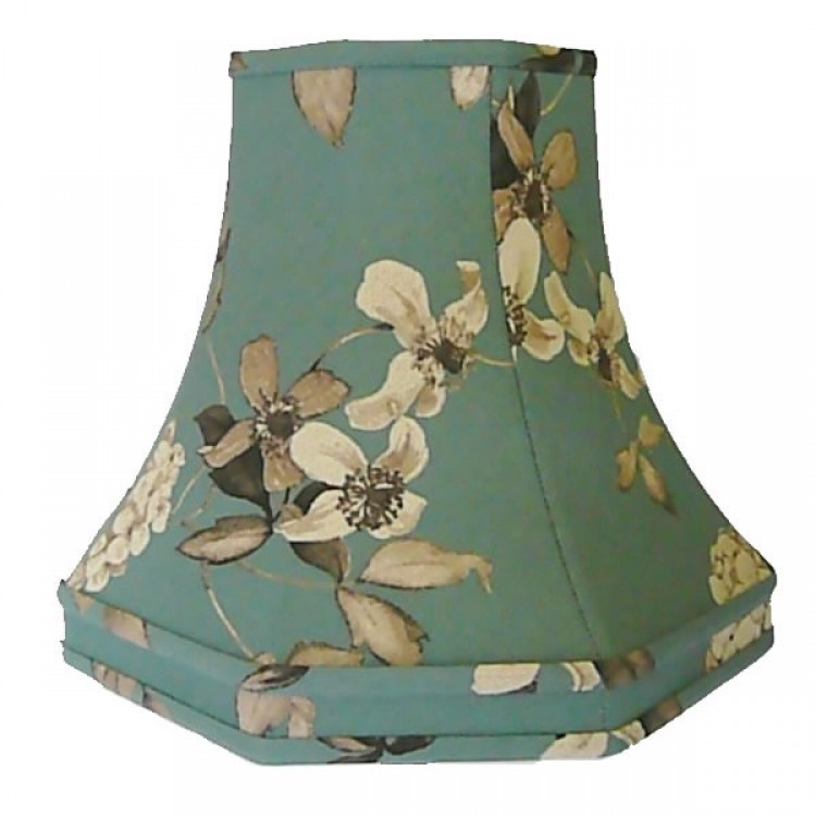 Teal Blue Octagonal Fabric Lampshades