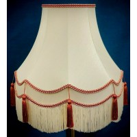 Cream and Terracotta Orange Fabric Lampshades