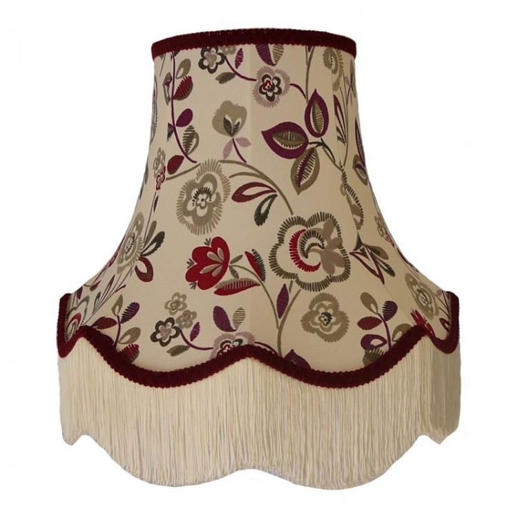 Mulberry Purple Red and Burgundy Floral Fabric Lampshades