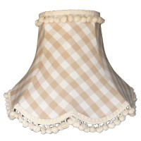 Natural Cream Gingham Check Pom Pom Fabric Lampshades