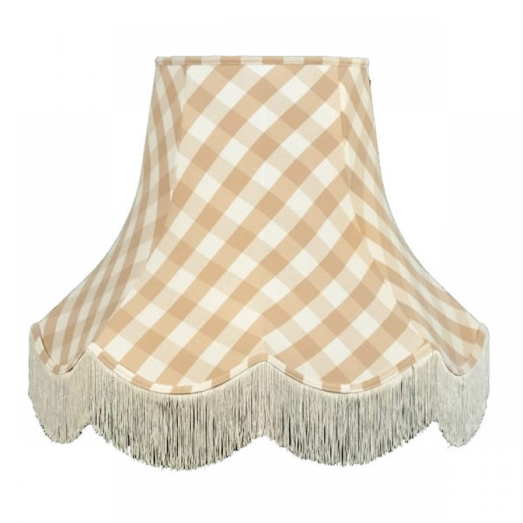 Natural Cream Gingham Check Fabric Lampshades