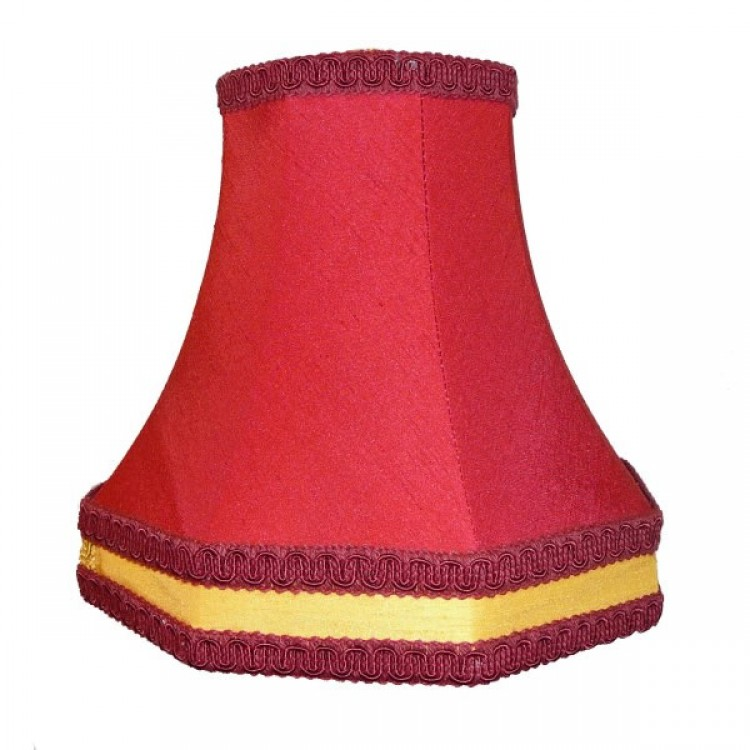 8 Inch Red and Gold Octagonal Fabric Lampshade