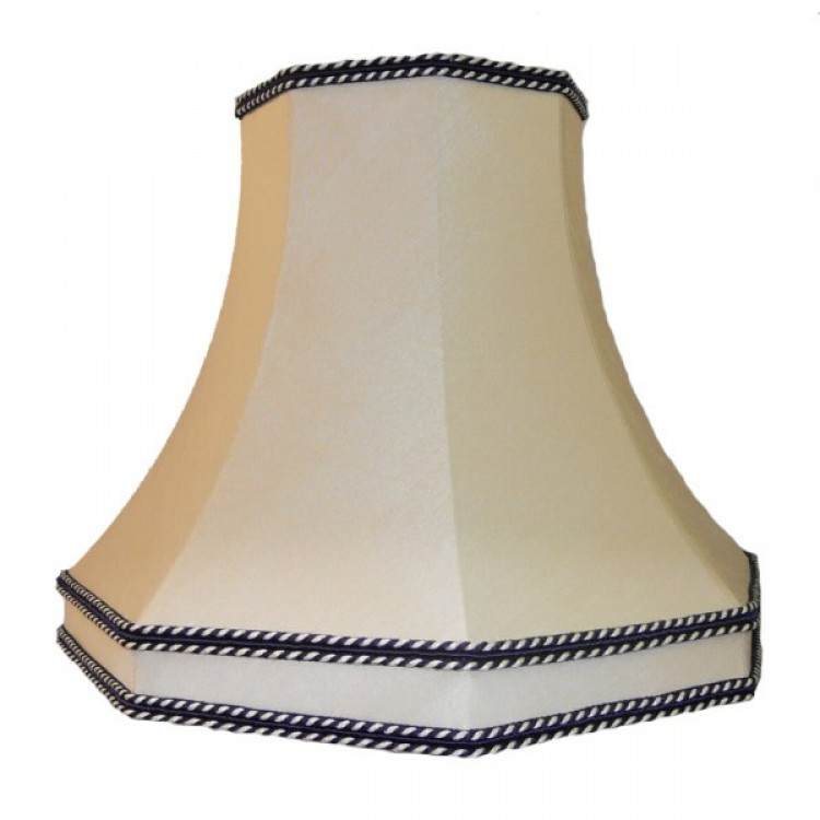 Cream and Blue Octagonal Fabric Lampshades