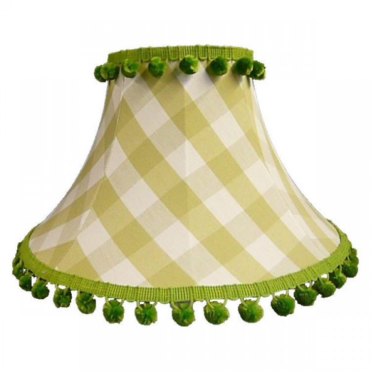 Pampas Green Gingham Check Empire Fabric Lampshades