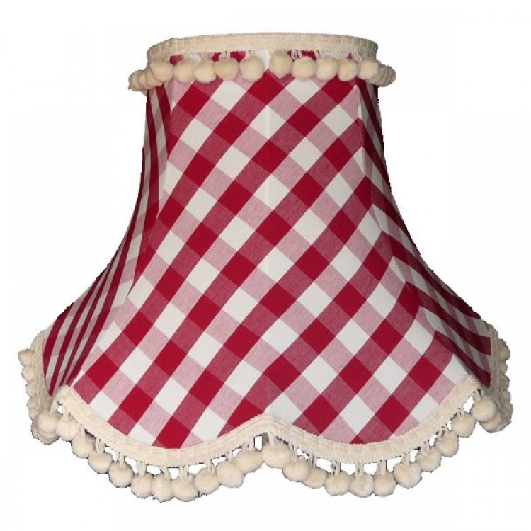 Rouge Red Gingham Check Pom Pom Fabric Lampshades