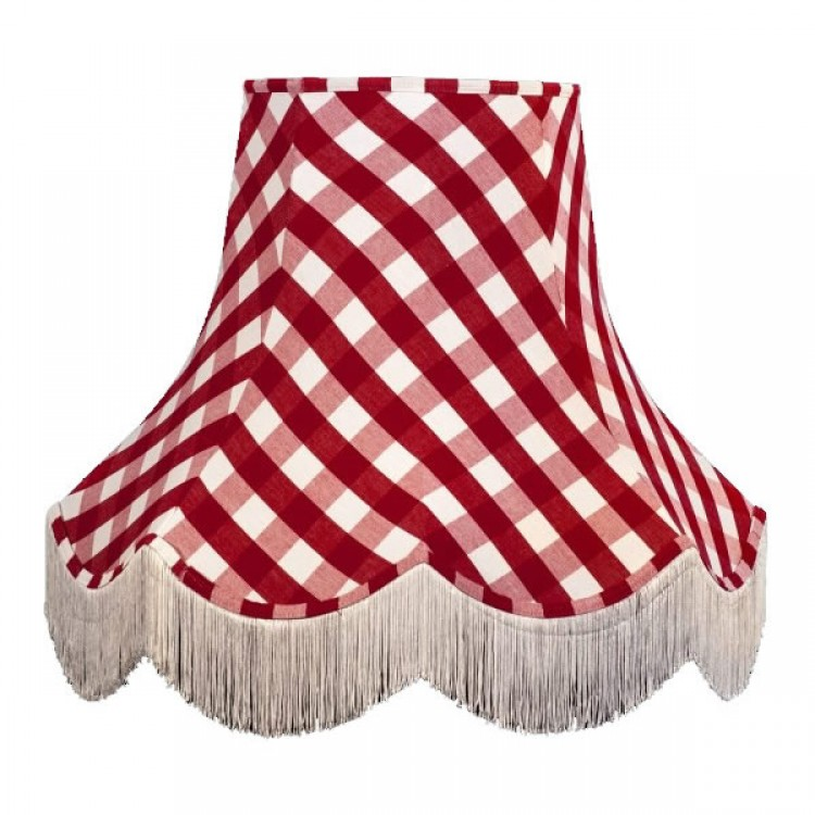 Rouge Red Gingham Check Fabric Lampshades