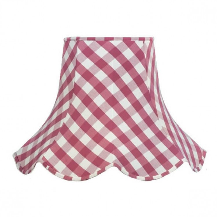 Pink Gingham Check Modern Fabric Lampshades
