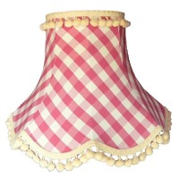 Pink Gingham Check Pom Pom Fabric Lampshades