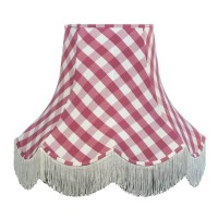 Pink Gingham Check Fabric Lampshades