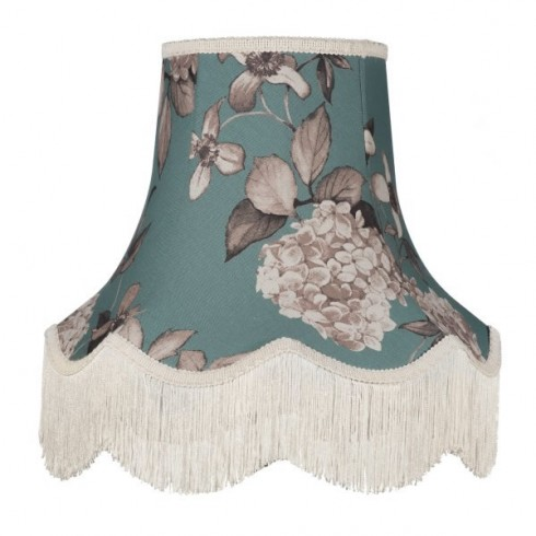 Teal Blue Hydrangea Fabric Lampshades