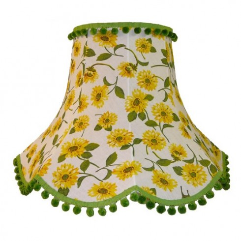 Yellow Sunflower with Green Fabric Lampshades