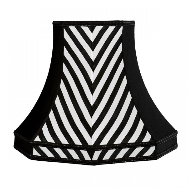 Black and White Striped Octagonal Fabric Lampshades