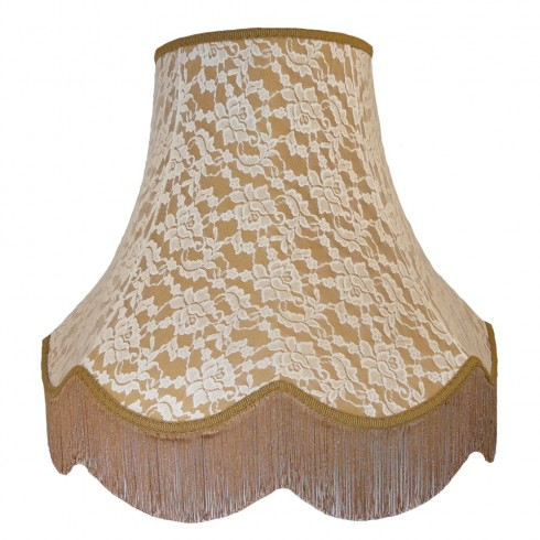 Gold and Cream Lace Fabric Lampshades