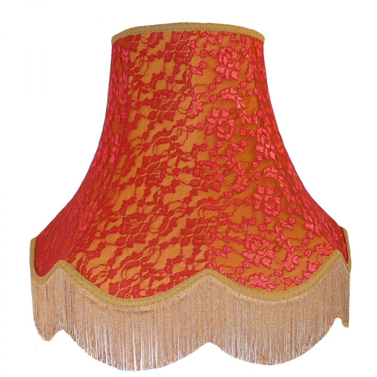 Gold And Red Lace Lampshade